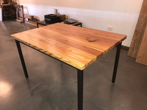 48 Inches Square Shape Metal Based Pine Wood Kitchen Table
