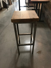Reclaimed wood top and high steel base stool