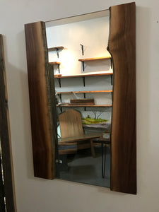 Walnut Live Edge Large Wall Wood Frame Furnished Mirror