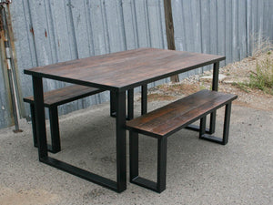 Solid Oak Wood Dining Table, Tube Steel legs, Rectangular and Two Long Benches