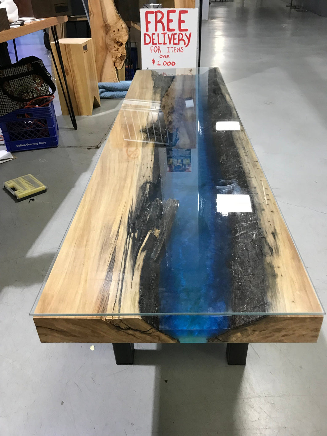 Blue and Black Epoxy Resin Custom Coffee Table with Glass Top