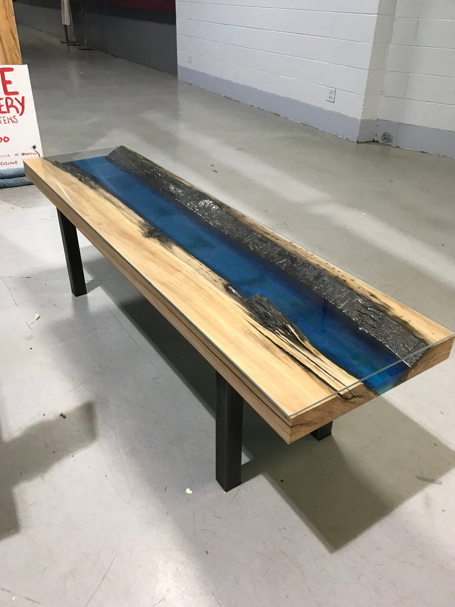 Live Edge Cottonwood And Epoxy Resin Coffee Table