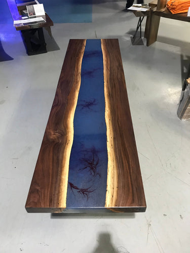 Blue Epoxy Resin Custom Table with Walnut Live Edge
