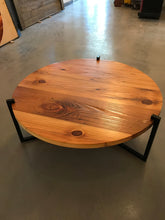 Household Essentials Pine Wood Round Coffee Table With Black Metal Frame