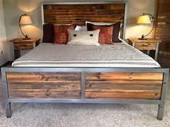 Steel and Reclaimed Wood Queen Size Bed