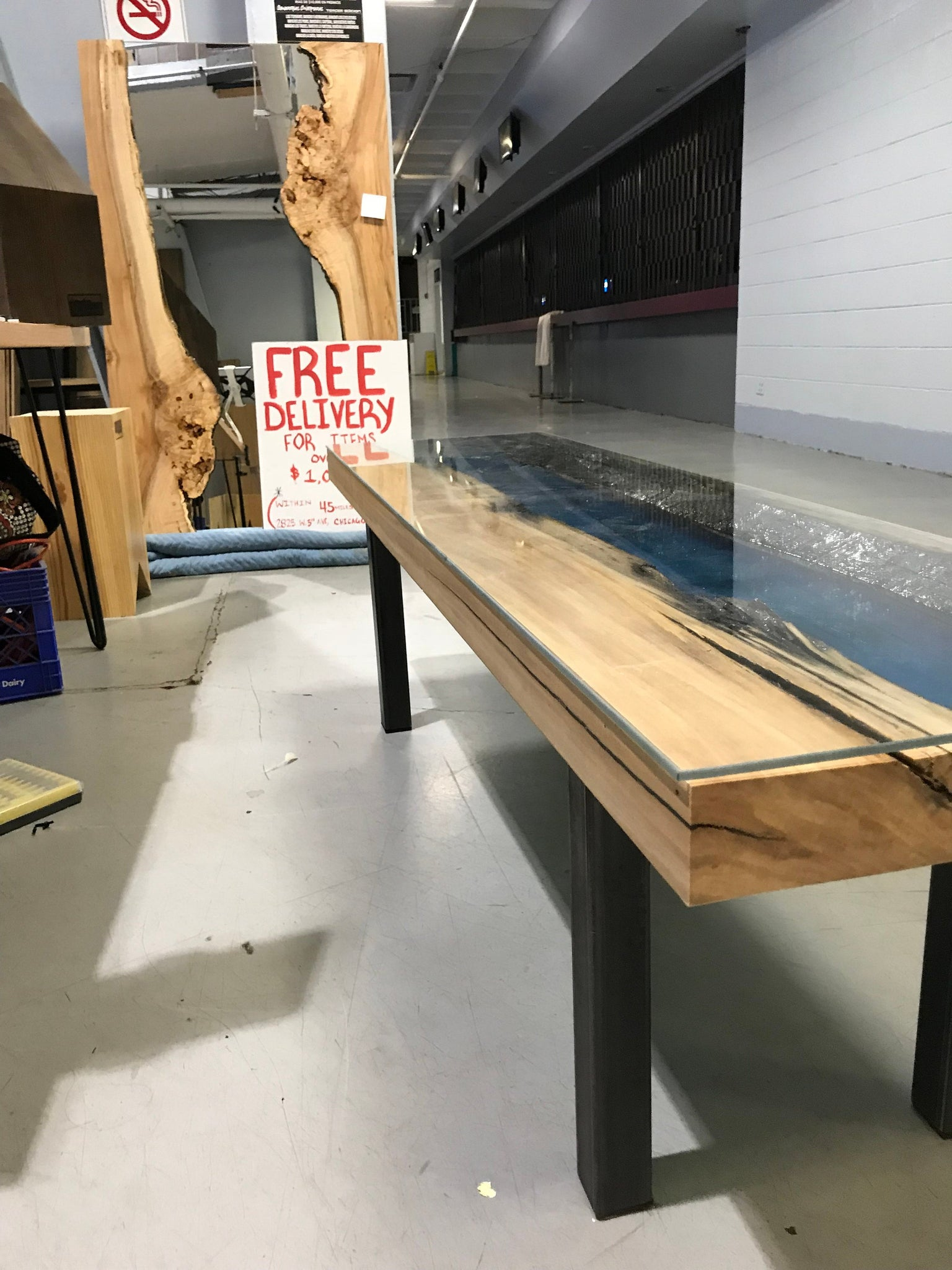 Picture of: Blue And Black Epoxy Resin Custom Coffee Table With Glass Top Chicago Fabrications