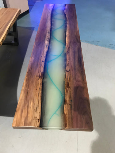 Glow in The Dark Epoxy Resin Walnut Live Edge Coffee Table