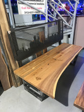 Live Edge Oak Wood Top Steel Bench with Chicago Skyline Laser cut