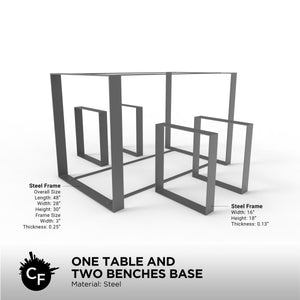 One Table and Two Benches Base