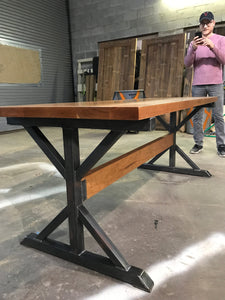 6FT Long Custom Beautiful Cherry Wood Desk with Steel base