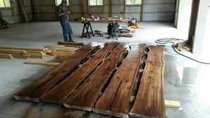 Note (Price per SF) Live Edge Raw Walnut Slabs,