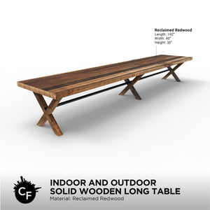 Indoor and Outdoor Solid Wooden Long Table