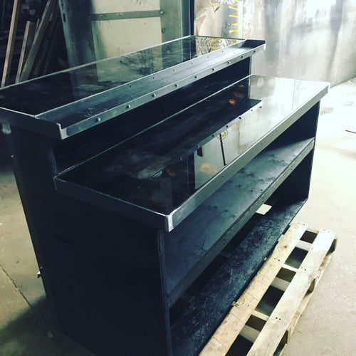 Black Bar with Epoxy Tops, wrapped in reclaimed wood and steel