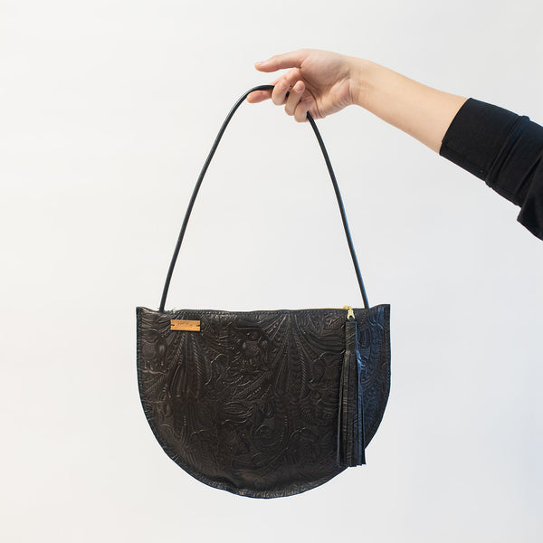 Large Crescent Should Bag in Black Embossed Leather