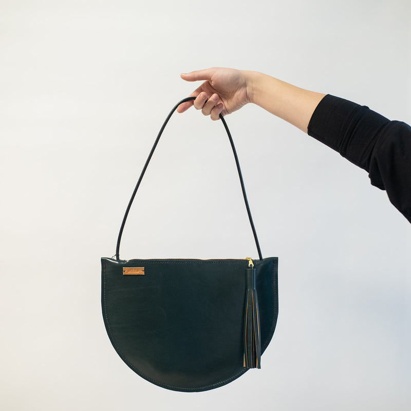 Large Crescent Should Bag in Forest Green Leather