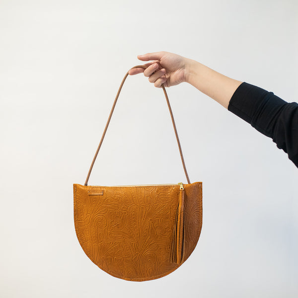 Large Crescent Should Bag in Brandy Embossed Leather