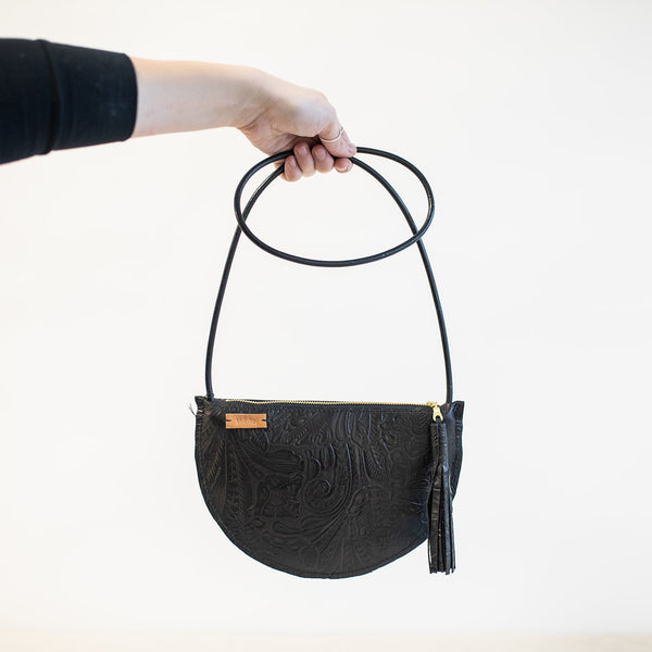 Crescent Crossbody in Black Embossed Leather