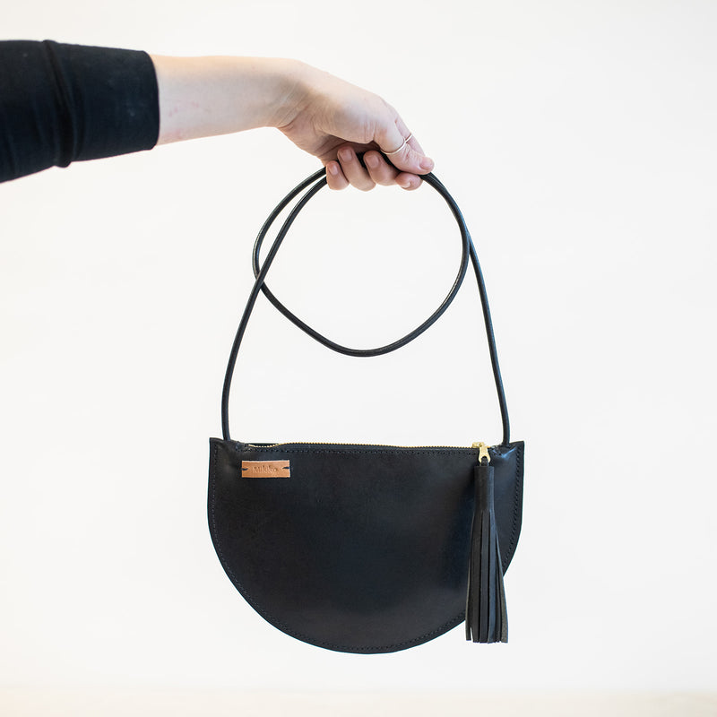 Sm Crescent Crossbody in Black Leather