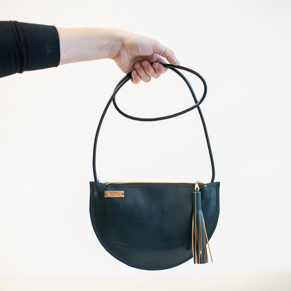 Sm Crescent Crossbody in Forest Green Leather