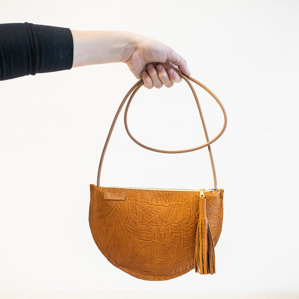 Sm Crescent Crossbody in Brandy Embossed Leather
