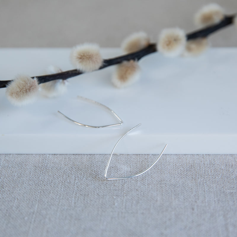 Argentium silver stick earrings