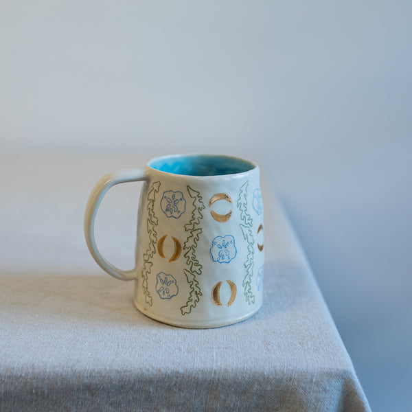 12oz Seaweed and Sand Dollar Wallpaper Mug