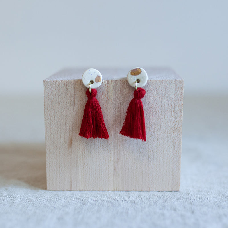 Navi Red Tassel Earrings