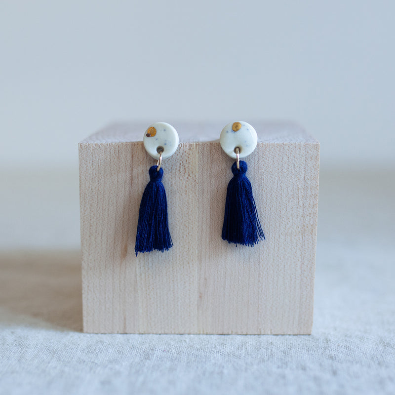 Navi Navy Tassel Earrings