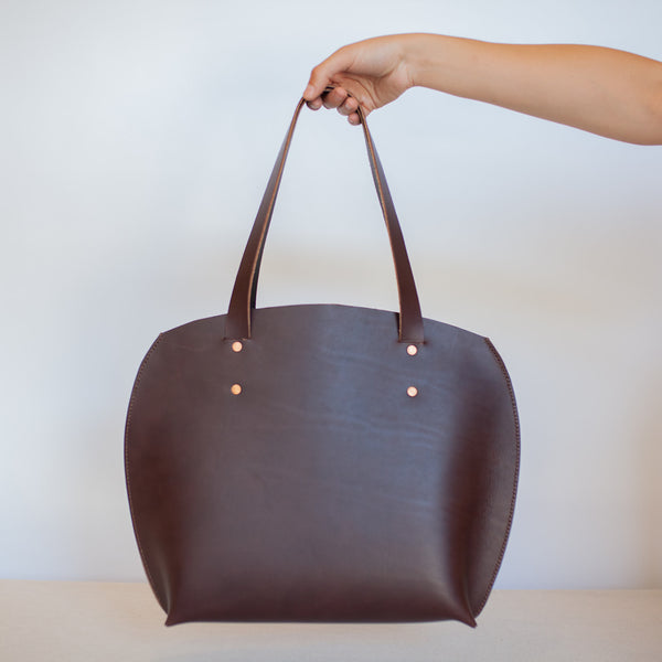 Large Round Tote in Dark Brown