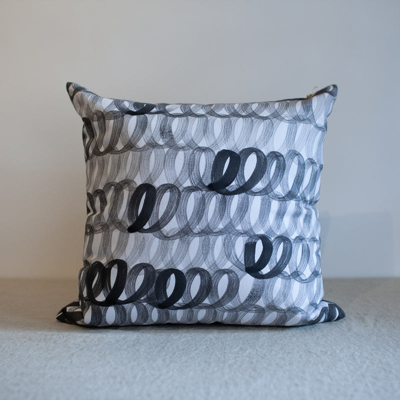 "Handpainted Loop Pillow in Charcoal 18""x18"""