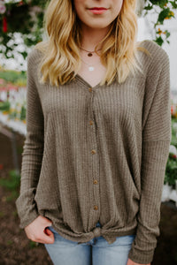 The Indie Button Waffle Knit in Olive