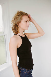 Our Everyday Fitted Cami Tank in Black