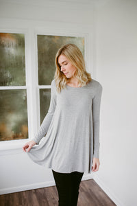 Our Everyday Long Sleeve Tunic in Light Gray
