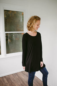 Our Everyday Long Sleeve Tunic in Black