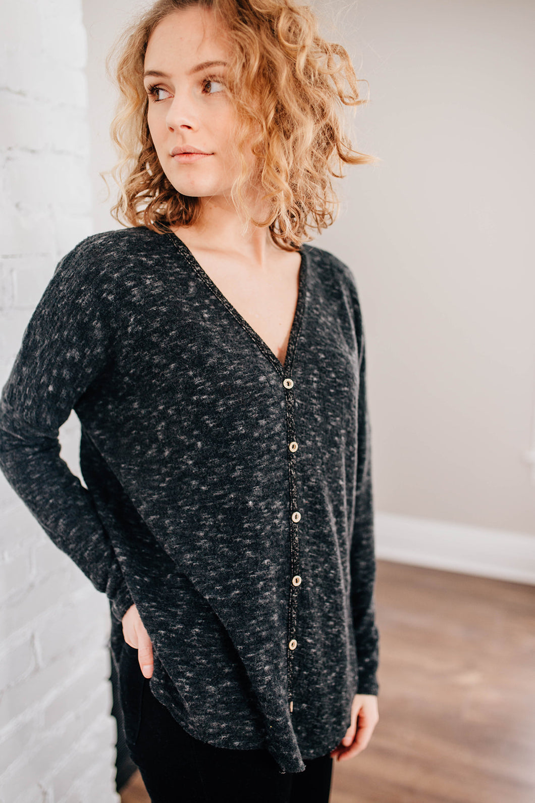 The Mae Cozy Button Up