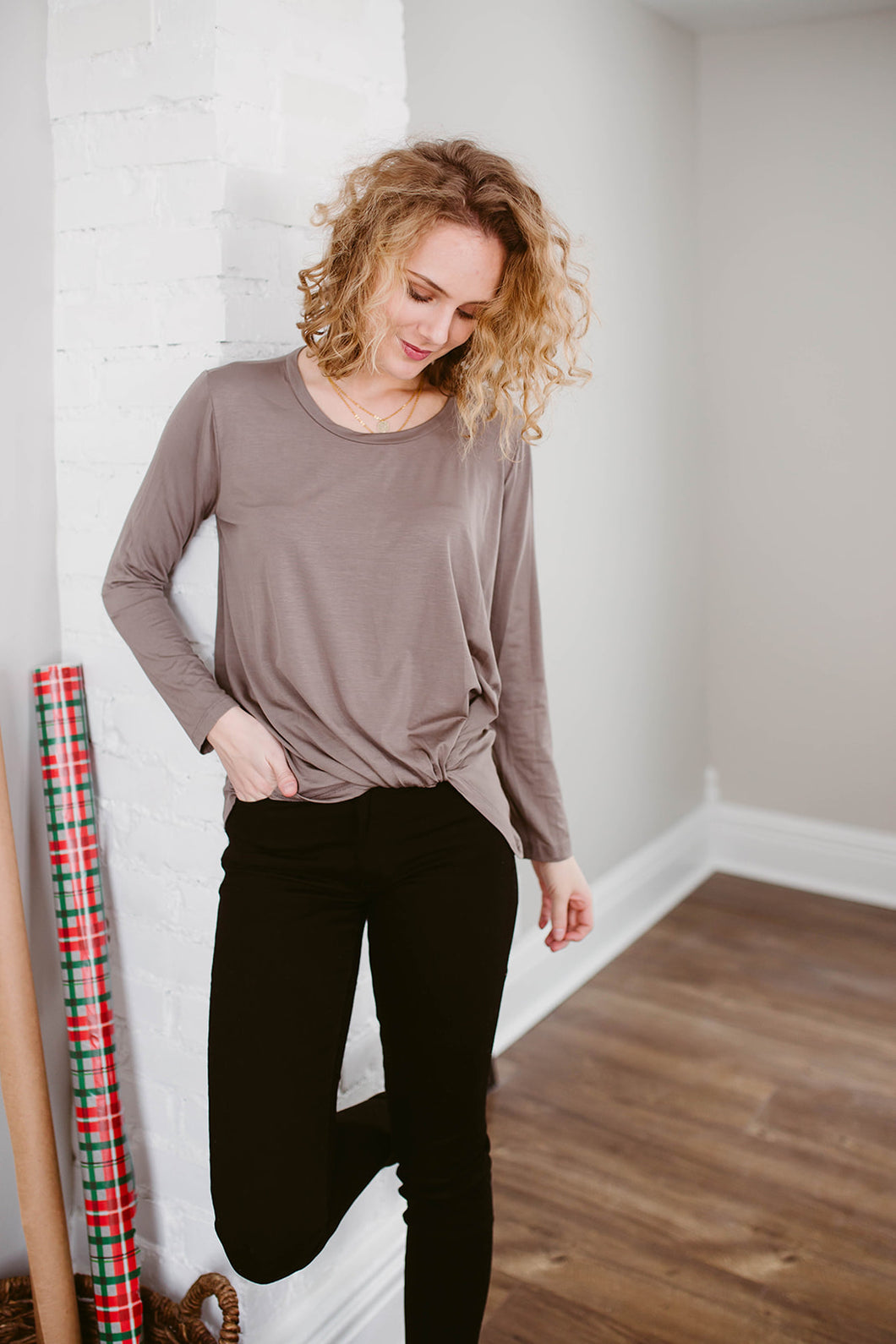 Our Everyday Knotted Long Sleeve in Cocoa