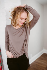 Our Everyday Knotted Long Sleeve in Cocoa *RESTOCKED*