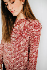 The Emerson Floral Blouse in Crimson