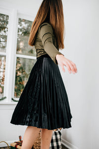 The Roxie Pleated Velvet Skirt