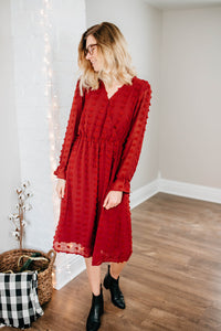 The Merry Dot Dress in Burgundy