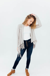 The Jackson Cowled Neck Cardigan in Cream