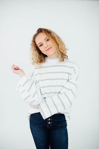 The Harper Striped Mock Neck