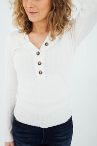 The Leona Button Up Top in Ivory