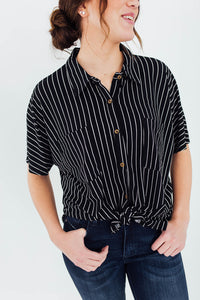 The Reece Striped Button Up in Black