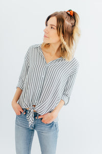The Shelby Striped Button Top