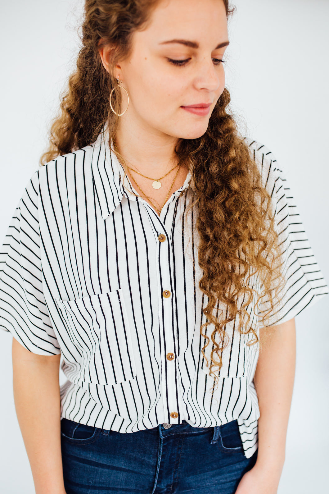 The Reece Striped Button Up in Ivory