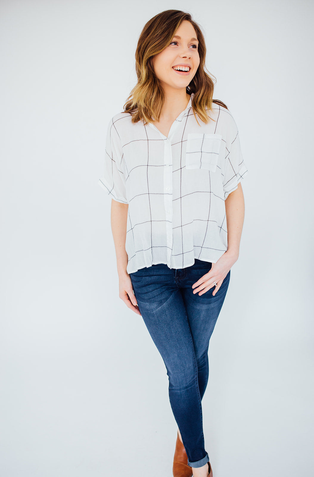 The Parker Grid Blouse