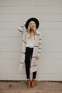 The Aspen Striped Long Cardigan