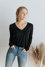 Our Everyday V-Neck Long Sleeve in Black