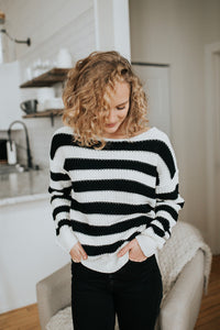 The Hollis Striped Sweater in Black